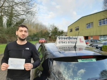 "Congratulations ""Ervis Koloshi"" who passed his driving test today ""1st"" attempt, at Chippenham DTC.Your instructor ""Roger"" and ALL of us at StreetDrive (SoM) are delighted for you, very well done - Passed Monday 10th February 2020."