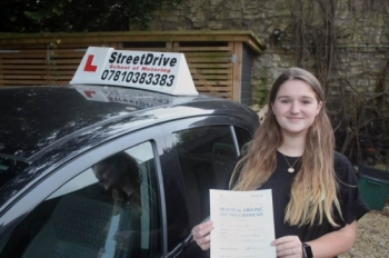"Congratulations 'Freya Disney"" who passed her driving test at Chippenham DTC, it was her ""1st"" attempt, just the ""one"" driving fault, we are ALL delighted for you.<br />